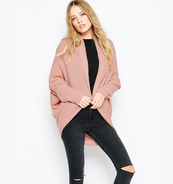 Asos Chunky cardigan in cocoon shape in blush - Cardigan by ASOS Collection Chunky knit Open front...