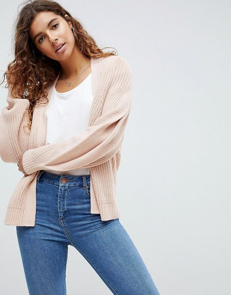 ASOS DESIGN asos chunky cardigan with pleat sleeve in pink - Cardigan by ASOS Collection, Open front, Pleated...