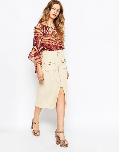 Asos Chunky cord zip front midi skirt in cream - Midi skirt by ASOS Collection, Lightweight, soft-touch...