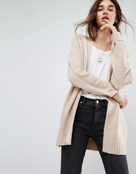 "ASOS DESIGN ASOS Chunky Knit Cardigan In Wool Mix in oatmeal - """"Cardigan by ASOS Collection, Wool-mix chunky knit,..."
