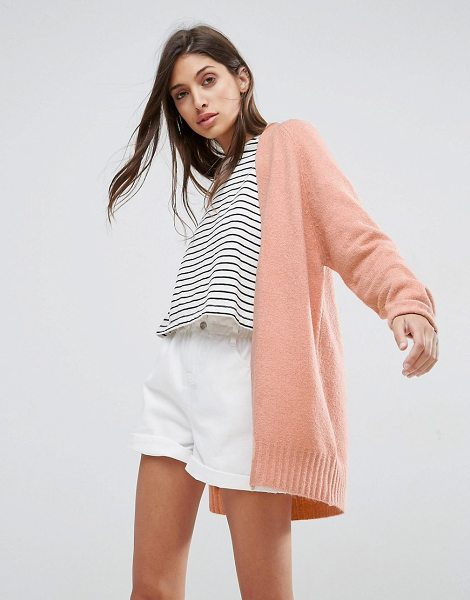 """Asos Chunky Knit Cardigan In Wool Mix in pink - """"""""Cardigan by ASOS Collection, Chunky wool-mix knit,..."""