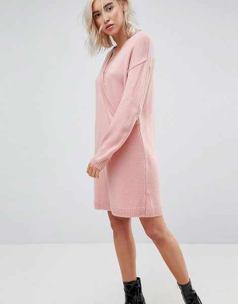 ASOS DESIGN asos chunky knitted dress with wrap detail in nude - Knit dress by ASOS Collection, V-neck, Cross-over front,...