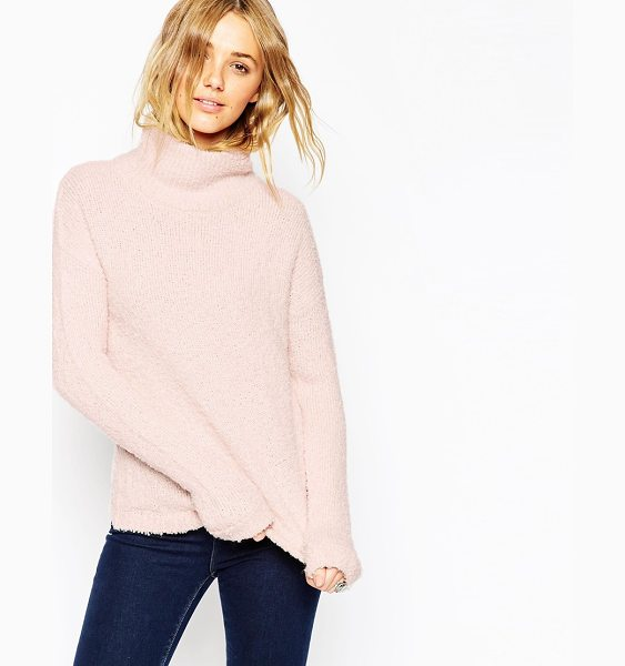 ASOS Chunky Sweater With High Neck in pink - Sweater by ASOS Collection, Mid-weigh thick boucle knit,...