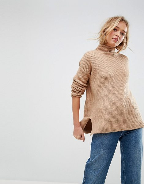 Asos Chunky Sweater With Turtleneck In Fluffy Yarn in stone
