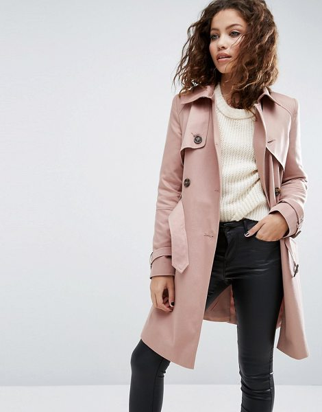 Asos Classic Trench Coat in pink - Coat by ASOS Collection, Woven fabric, Point collar,...