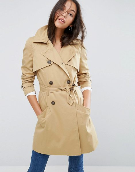 Asos Classic Trench Coat in stone - Coat by ASOS Collection, Heavyweight textured woven...