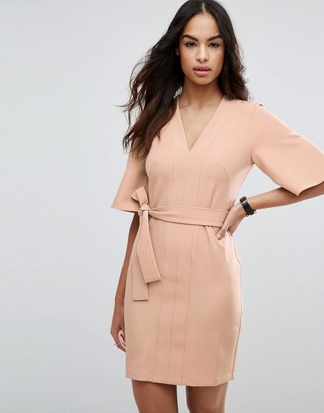 "Asos Clean Obi Tie Wrap Mini Dress in brown - """"Dress by ASOS Collection, Smooth woven fabric, Plunge..."