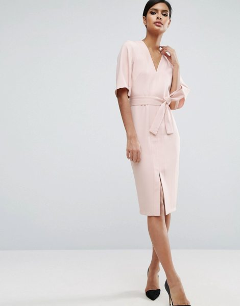 Asos Clean Obi Wrap Dress with V Front in pink - Dress by ASOS Collection, Smooth woven fabric, V-neck,...