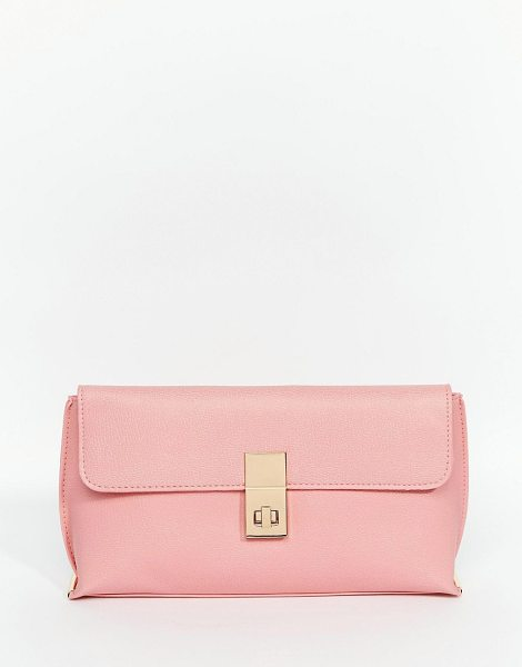 Asos Clutch Bag With Clasp in pink - Clutch bag by ASOS Collection, Matte faux leather, Front...