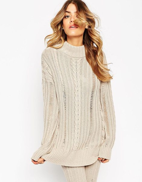 Asos co-ord Sweater With Ladder Detail in beige - Sweater by ASOS Collection, Ribbed knitted fabric, High...