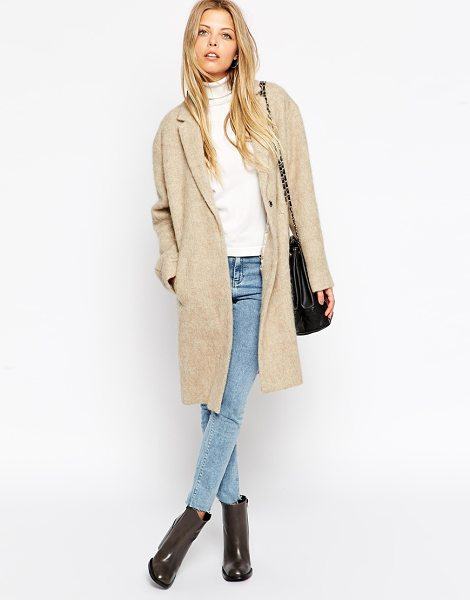 Asos Coat in brushed fabric in stone - Coat by ASOS Collection Mid-weight, fluffy-feel, brushed...