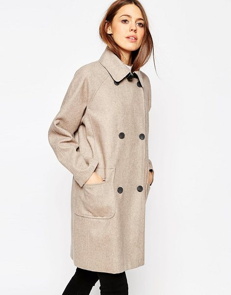 Asos Coat in cocoon fit in bonded cloth in cream - Coat by ASOS Collection, Heavyweight, bonded cloth,...