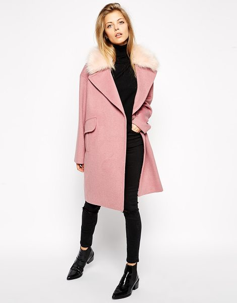 Asos Coat in cocoon fit with faux fur collar in pink - Coat by ASOS Collection Soft-touch, brushed fabric Faux...