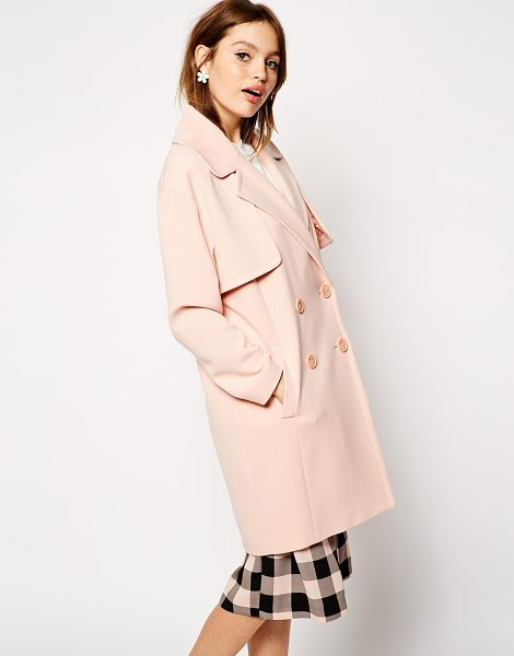 Asos Coat in cocoon fit with stormflaps in pink - Coat by ASOS Collection 64% Polyester, 30% Viscose, 6%...