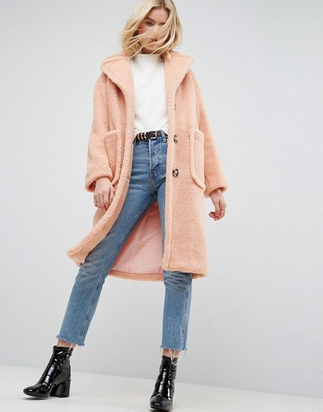 Asos Coat in Luxe Teddy Borg in pink