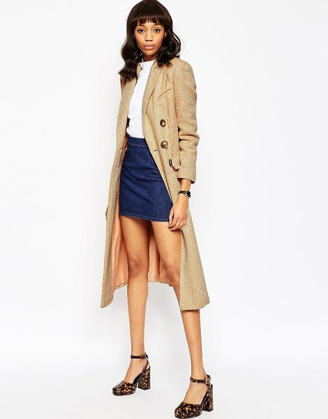 Asos Coat in Midi Length with Raw Edge in pink - Coat by ASOS Collection, Heavyweight woven fabric,...