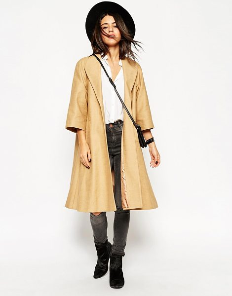 Asos Coat in oversized swing with kimono sleeve in camel - Coat by ASOS Collection Pure cotton Open front Cropped...