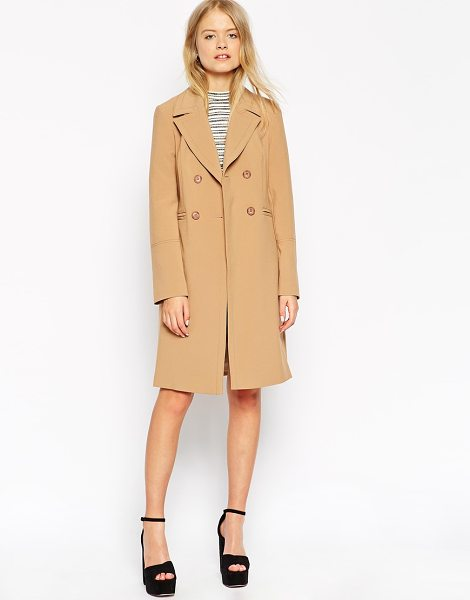 ASOS Coat with Contrast Topstitch - Coat by ASOS Collection, Mid-weight canvas, Satin...