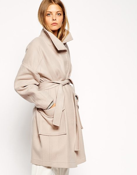 Asos Coat with kimono sleeve and funnel neck in pink - Coat by ASOS Collection Woven wool fabric Funnel...