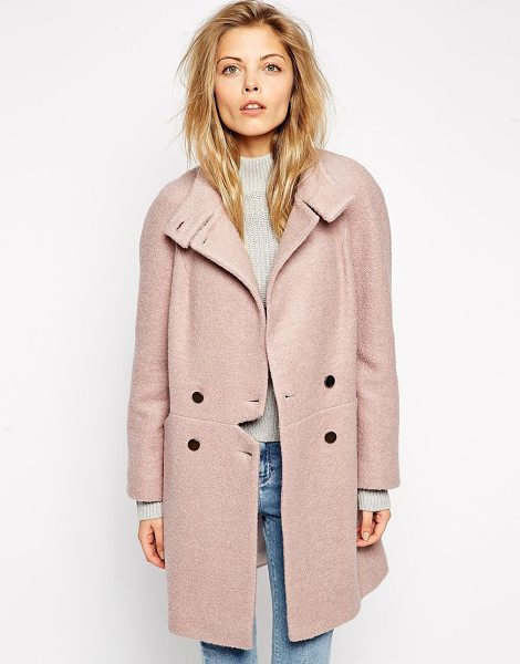 Asos Coat with notch detail in pink - Coat by ASOS Collection Brushed effect Funnel neckline,...