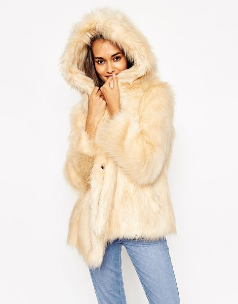 ASOS Coat with oversized hood in vintage faux fur in beige - Coat by ASOS Collection Faux fur Fully lined Soft-touch...