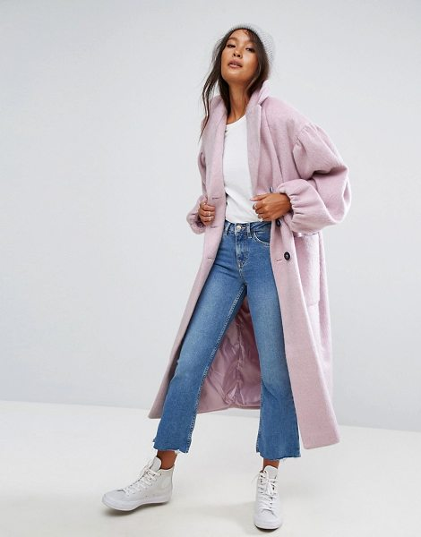 "Asos Coat with Statement Sleeve in pink - """"Coat by ASOS Collection, Wool-mix woven fabric, Notch..."