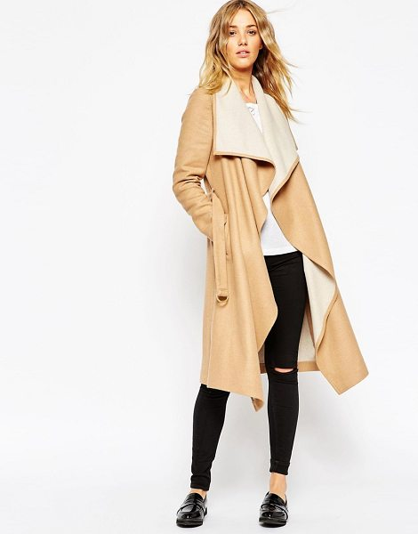 Asos Coat with waterfall front and belt in stone - Coat by ASOS Collection, Heavyweight, wool-mix fabric,...