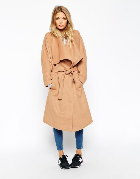 Asos Coat with waterfall front in camel - Coat by ASOS Collection Woven, wool-rich fabric Fully...