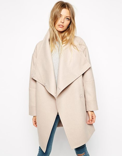 Asos Coat with wrap front & funnel neck in mink - Coat by ASOS Collection Heavy-weight, soft-touch fabric...