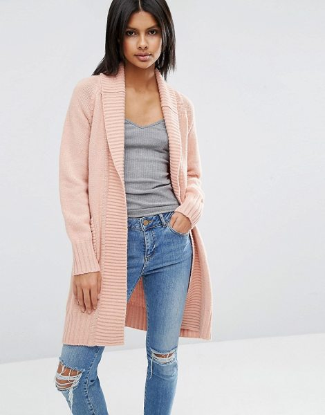ASOS Coatigan With Ribbed Back - Coatigan by ASOS Collection, Midweight chunky knit, Open...