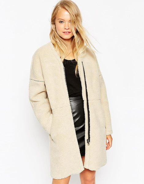 ASOS Cocoon Coat in Borg - Coat by ASOS Collection, Fluffy bonded borg outer,...