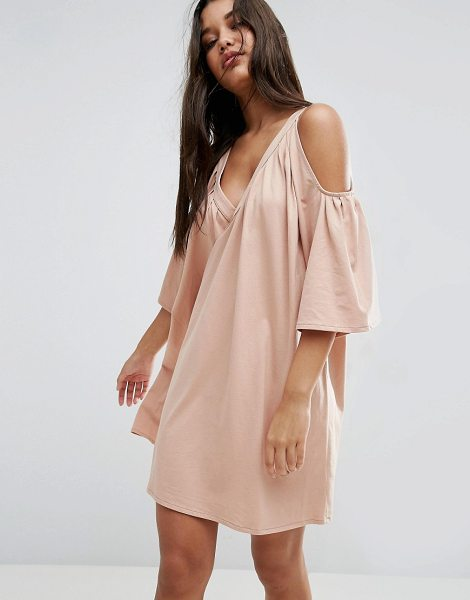 """ASOS Cold Shoulder Deep V Cotton Sundress - """"""""Dress by ASOS Collection, Soft-touch cotton jersey,..."""