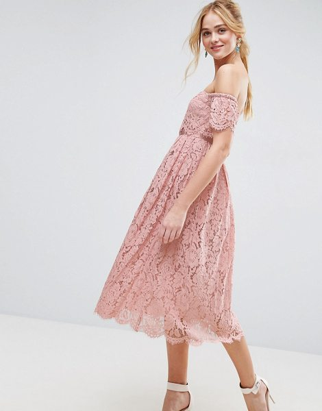 "Asos Off the Shoulder Lace Prom Midi Dress in pink - """"Midi dress by ASOS Collection, Lined lace, Bardot..."