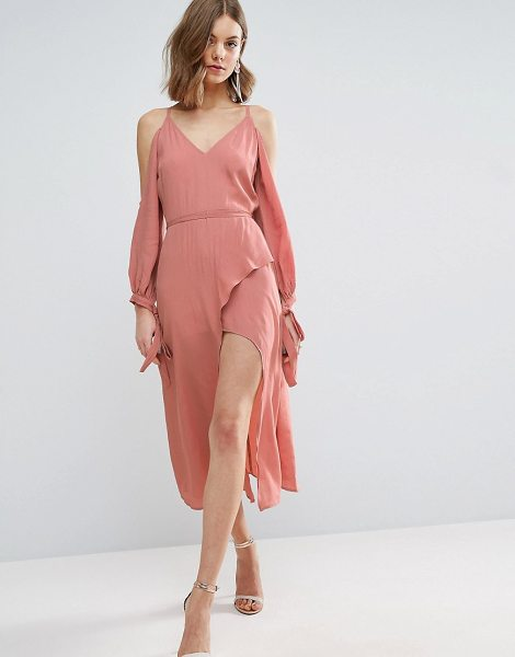 """ASOS Cold Shoulder Long Sleeve Midi Dress in pink - """"""""Midi dress by ASOS Collection, Lightweight woven..."""