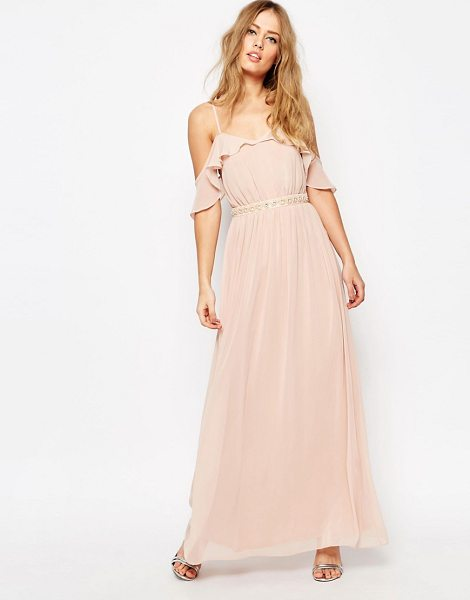 Asos Cold Shoulder Maxi Dress With Embellished Waist in pink