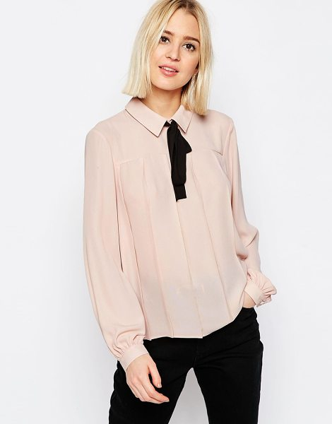 Asos Contrast tie pleat detail blouse in pink - Blouse by ASOS Collection, Lightweight woven fabric,...