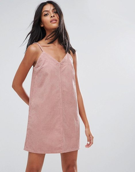 "ASOS Cord Slip Dress in Pale Pink in pink - """"Dress by ASOS Collection, Soft-touch corduroy, V-neck,..."