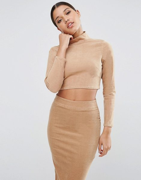 Asos Cord Turtleneck Top Co-Ord in beige - Top by ASOS Collection, Stretch woven fabric, Turtle...