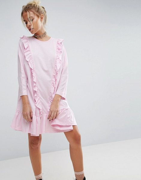 Asos Cotton Smock Dress with Frill Detail in pink - Dress by ASOS Collection, Soft-touch cotton, Crew...