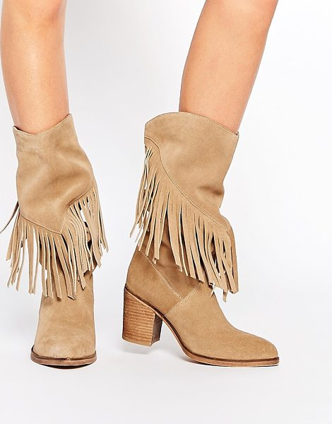 Asos Crazy happy suede fringe boots in sand - Boots by ASOS Collection Real suede upper Almond toe...
