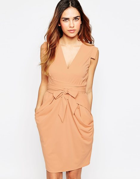 Asos Crepe Dress with Obi Wrap in pink - Dress by ASOS Collection, Smooth crepe, V-neckline, Cap...