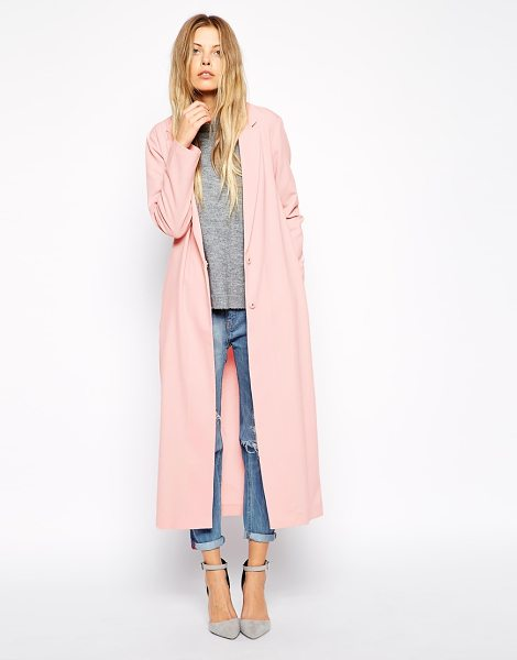 Asos Crepe duster jacket in maxi length in pink - Jacket by ASOS Collection Lightweight crepe Notch lapels...