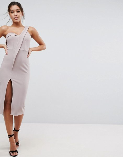 ASOS Crepe Tux One Shoulder Midi Dress in nude - Dress by ASOS Collection, Lightly-textured crepe,...