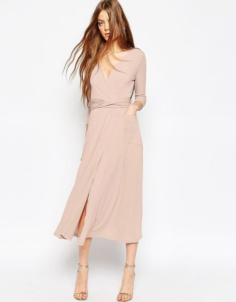 """Asos Crepe Wrap Midi Dress in pink - """"""""Maxi dress by ASOS Collection, Stretch crepe, Wrap..."""