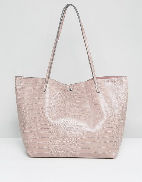 "Asos Croc Bonded Shopper Bag in pink - """"Bag by ASOS Collection, Faux-leather outer,..."