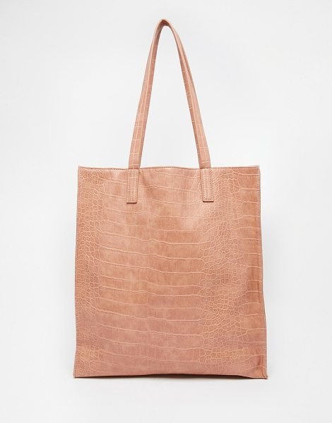 Asos Croc shopper bag in pink - Cart by ASOS Collection Textured leather-look outer Twin...