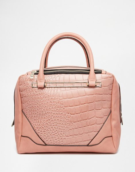 Asos Croc tote bag in pink - Cart by ASOS Collection Faux-leather Croc-style panels...