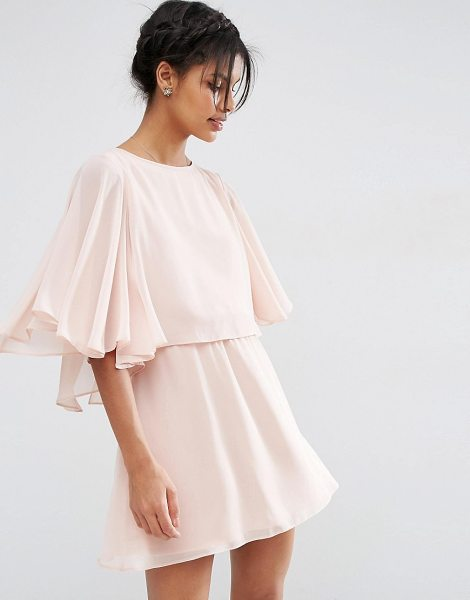 Asos Crop Cape Mini Skater Dress in pink - Dress by ASOS Collection, Lined chiffon, Crew neckline,...