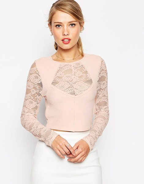 Asos Crop top in lace with baby rib in blush - Top by ASOS Collection Stretch, ribbed fabric Round...