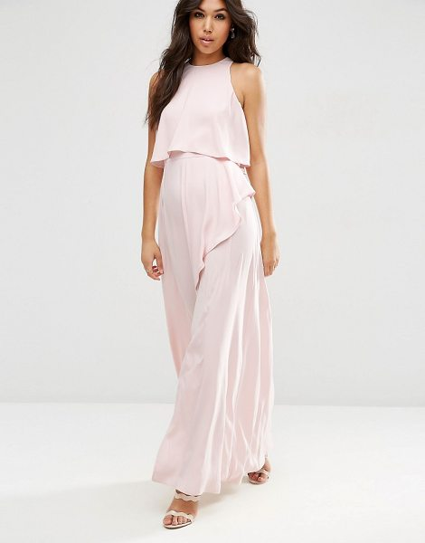 Asos Crop Top Ruffle Split Maxi Dress in pink - Maxi dress by ASOS Collection, Smooth woven fabric, Crew...